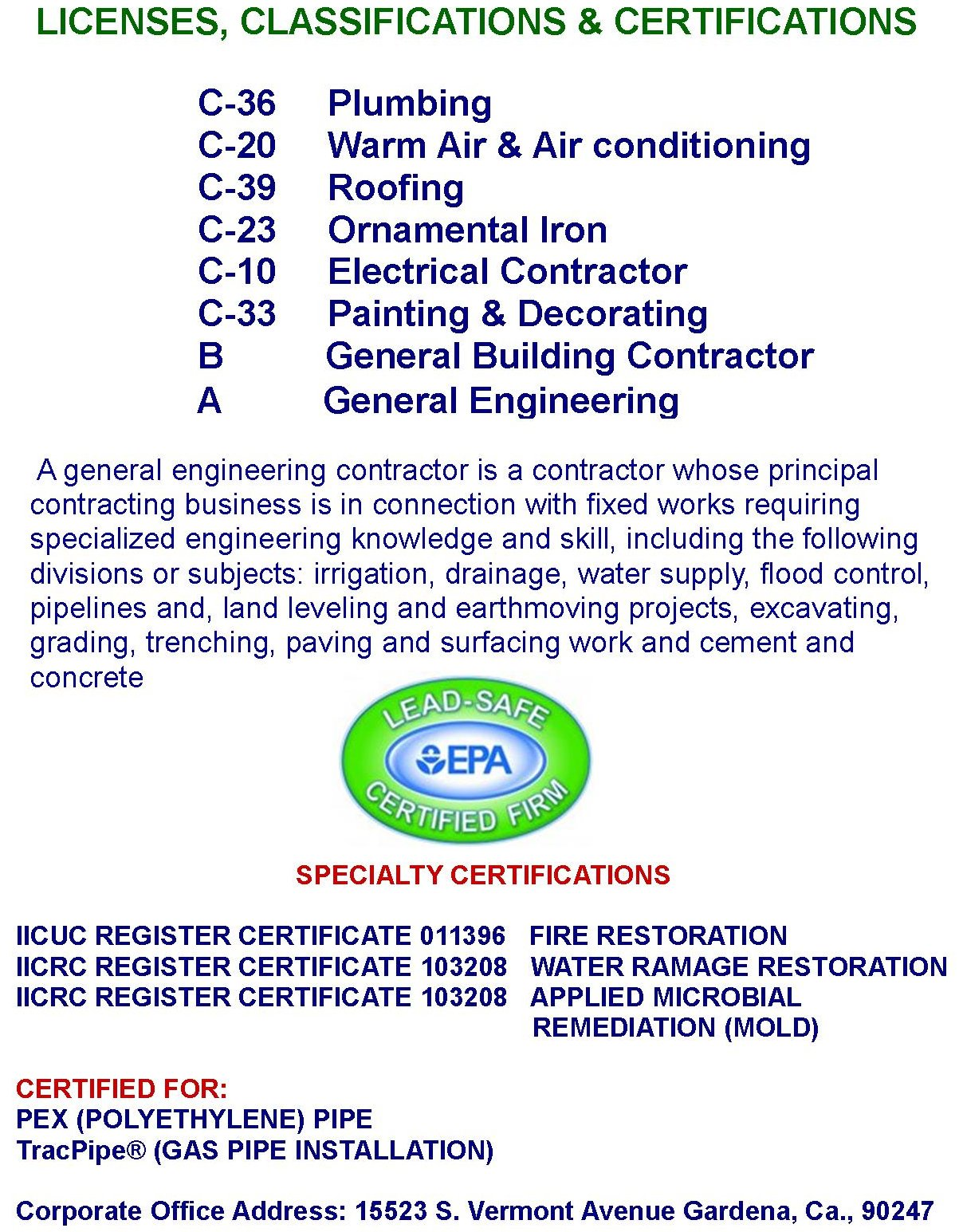 Plumbing License California